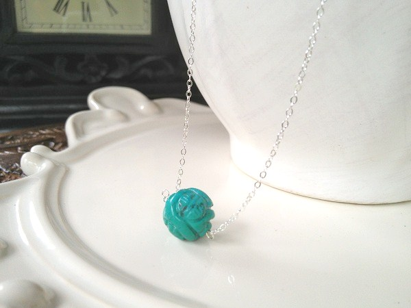 Unique Carved Turquoise Ball on Sterling Silver adjustable chain 16-18""