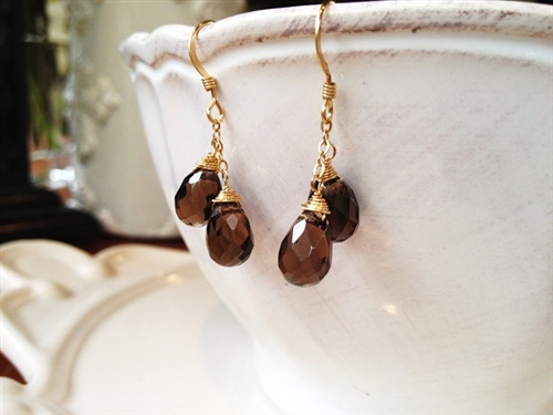 Handmade Smoky Quartz Gold Filled Double Drop Earrings