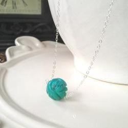 Unique Carved Turquoise Ball on Sterling Silver adjustable chain 16-18&quot;