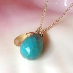 Turquoise drop paired with Lemon Quartz on adjustable 16-18&amp;quot; Gold Filled Chain