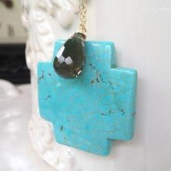 Large Turquoise Cross Pendant on Long 28&quot; Gold Filled Chain