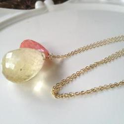 "Large Lemon Quartz paired with Coral Quartz on long 28"" Gold Filled  chain."