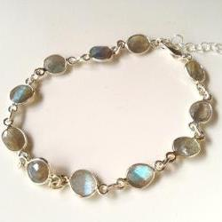 "Labradorite on Sterling Silver 7-8"" adjustable Bracelet. Labradorite stones are 1/4"" in size"